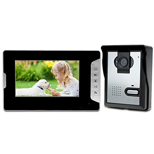 LIBO Videoportero Kit Cableado Audio 7' Impermeable Digital HD Monitor Visión Nocturna IR Cámara para Sistema de Entrada de Puerta de Casa