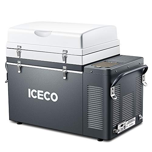 ICECO VL52 Portable Expandable Refrigerator, 12 Volt Fridge Freezer, Full Steel Cabinet, 4 Sizes in One, Powered by SECOP, Home and Car Use, 50℉ to -8℉, DC 12/24V, AC 110/240V (55 Quart)