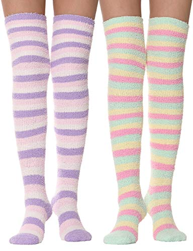 Girls Womens Over Knee High Fuzzy Socks Stockings Fluffy Soft Warm Cozy Cute Long Winter Christmas Socks 2 Pairs (Stripes 2)