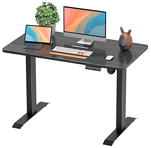 Furmax Electric Adjustable Sit Stand Home Office Desk Computer Workstation 43 x 24 inch with Preset Height Memory Controller Solid Wood Table Top (Black)
