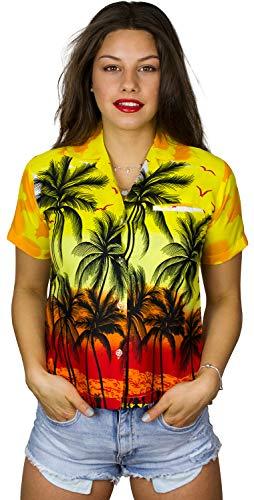 King Kameha Funky Casual hawaiana Blusa Camisa para mujer con bolsillo frontal con botones y manga corta muy ruidosa unisex estampado de playa - amarillo - Small