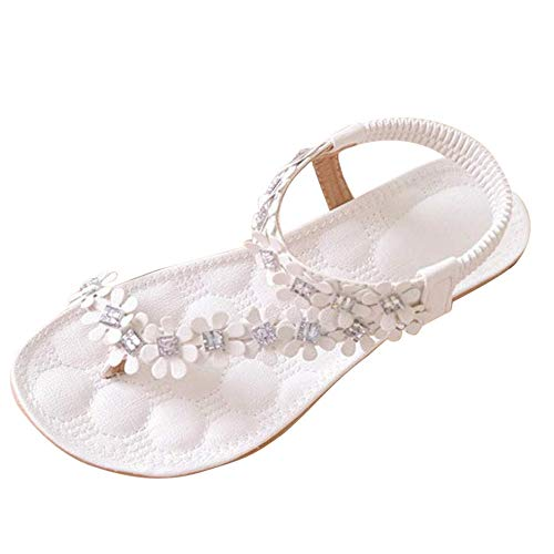 Sandalias Planas Blancas para Mujer Zapatos de Flip-Flop con Cuentas de Flores de Bohemia de Verano Blancas Tacon bajo Roma Fondo Plano Cmodo Zapatillas Chanclas riou