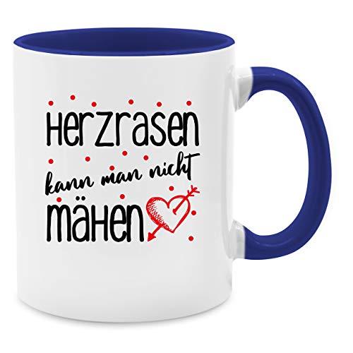 Tasse mit Spruch - Herzrasen kann Man Nicht mähen - Unisize - Dunkelblau - Herz - Q9061 - Tasse für Kaffee oder Tee