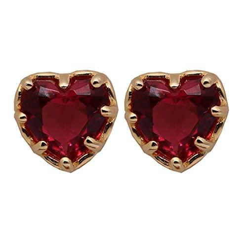 1 par de pendientes de aleación de corazón rojo para mujeres y niñas, joyería de lujo para bodas
