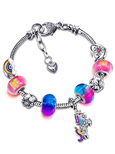 Unicorn Sparkly Crystal Charm Bracelet Bangle with Gift Box Set for Girl Lady (White,20 cm/ 7.9 Inches) (Colorful, 18 cm/ 7 Inches)