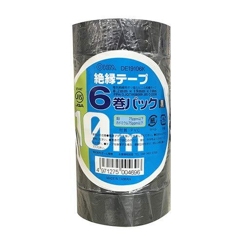 オーム電機 ohm 絶縁テープ10M6個 黒 DE19106K