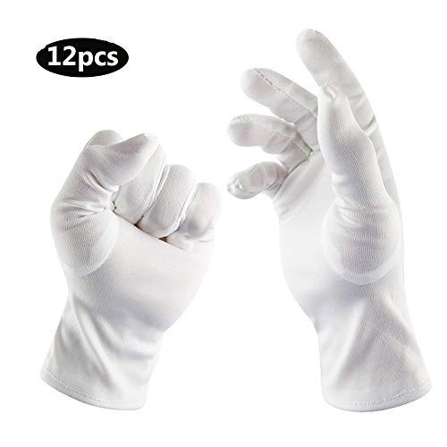 JIE KE Pure Katoen Witte Handschoenen Eczeem Hydraterende Dienst Archivaal Schoonmaken Munt Sieraden Zilver Kostuum Inspectie Voor Mannen Vrouwen, 12 Pairs