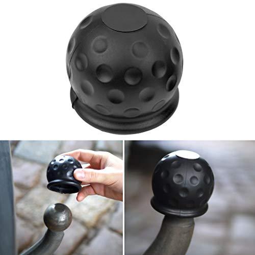 Universale Abdeckung für Anhängerkupplung, für Kugelkopfkupplungen bis 50 mm Durchmesser, aus Gummi, in Golfball-Form, Witterungsbeständig und Waschanlagen-fest, Erosionsschutz & Dreckschutz, schwarz