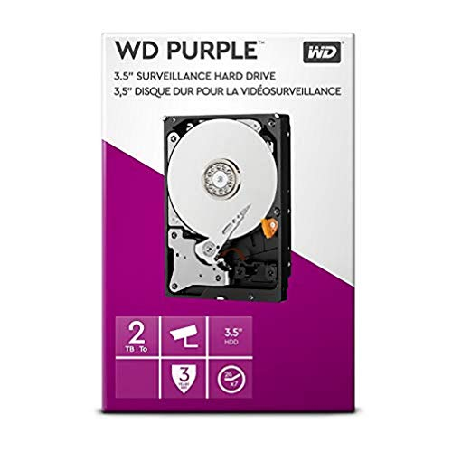 WD Purple 2 TB Surveillance  Hard Disk Drive, Intellipower 3.5 Inch SATA 6 Gb/s 64 MB Cache 5400 rpm