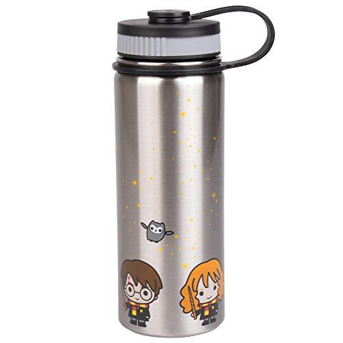 Harry Potter Trinkflasche aus Edelstahl, mit Harry, Ron und Hermine Chibi Charakter-Design, 550 ml