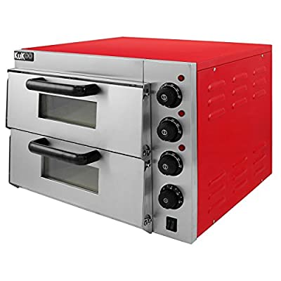 Electric Pizza Oven Maker Commercial (3000W, 350°C, 2 Baking Chambers, 2 Stone Floors: 41.5 x 41.5 x 11.5cm, Timer 120 min, Separately Adjustable Heat, Stainless Steel) from MonsterShop