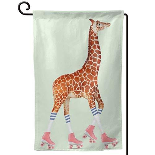 TYHG Garten-Flagge, Rollschuh-Giraffe, 3D-Druck, für Haus, Zuhause, Rasen, Outdoor-Dekoration, 30,5 x 45,7 cm