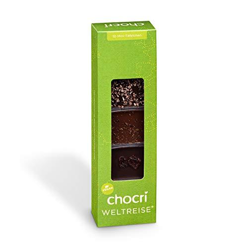 chocri 'kleine Weltreise Vegan' - 10 vegane Schoko-Tafeln aus laktosefreier Schokolade mit verschiedenen Dekoren - Fairtrade Kakao - das perfekte Geschenkset für Veganer und Vegetarier - 65g