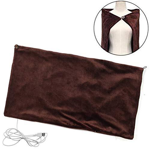 Verwarmde deken, sjaal, wrap, USB-oplaadbare elektrische verwarmingskussen voor rug en schouders pluche flanellen deken voor auto, kantoor, thuis, op reis - machinewasbaar