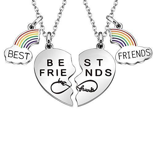 Maxforever Best Friends Gift - Collar con colgante de 2 corazones divididos para mejores amigos (mejores amigos)
