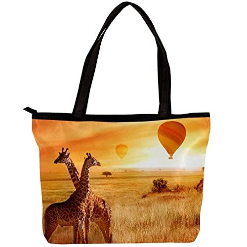 Bolsos de hombro de la bolsa de asas de la lona de las mujeres Cielo de la puesta de sol de la sabana africana de las jirafas Bolsa de playa Bolsa de compras para uso diario en viajes de trabajo