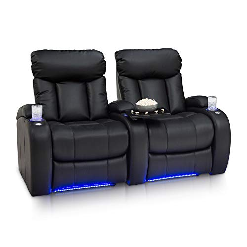 Seatcraft Orleans Home Theater Seating - Leather Gel - USB Charging - Manual Recline - Lighted Cupholders - Ambient Base Lighting - Tray Tables (Row of 2, Black)