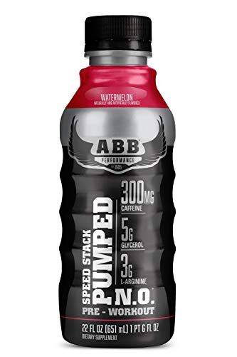 American Body Building (ABB) Speed Stack Pumped N.O, Pre-Workout Energy Shake, High Caffeine and Performance with Zero Sugar, Watermelon Flavored, Ready to Drink 22 oz Bottles, 12 Count