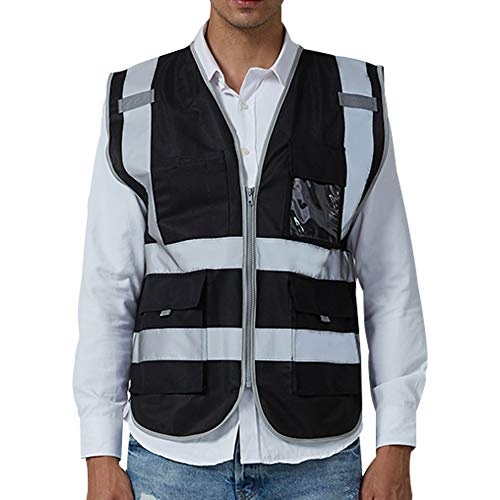 Safety Vest With Multi Pockets and Zipper Class 2 High Visibility Meets ANSI/ISEA Standards, (XL,black)