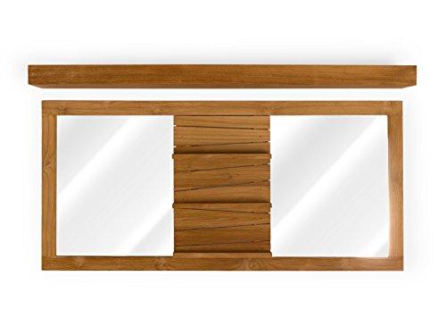 massivum Spiegel Del Mare doppelt mit Leiste Teak Natur 30 x 150 x 70 cm