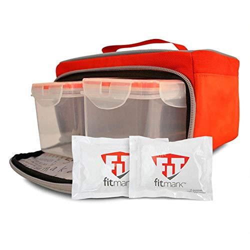 fitmark Box Kleiner Mahlzeit Prep Isoliertasche mit BPA-frei portioskontrolle Mahlzeit Container Kühlakkus, wiederverwendbar, Rot