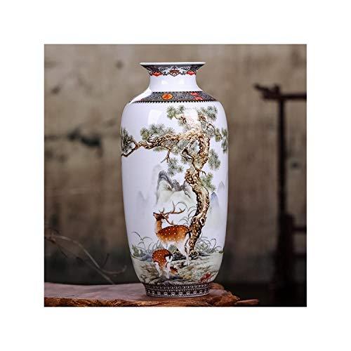 Lou Chapman Traditionelle Chinesische Weinlese Tabletop Blumenvase Blumenschmuck Dekoration Keramik Weiß Porzellanvase Crafts, Rot