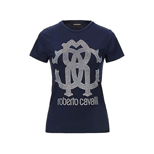 Roberto Cavalli Damen T-Shirt Logo Pailletes, Blau Small