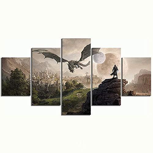 YANFFEN Mural Alta Definición Lienzo 5 Paneles Cuadros En Lienzo Moderno Pared El Arte Impresión Decoración Hogareñas Impresión HD Elder Scrolls 4 Juego Skyrim