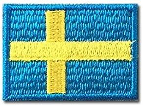 スウェーデン 国旗 アイロン ワッペン (ミニ 約33mmx24mm)