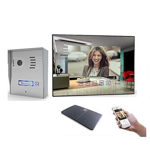 2 Draht Video Türsprechanlage Gegensprechanlage mit 7\'\' Monitor Aufputz, Farbe: Mit, Größe: 1x7\'\' Monitor mit WLAN Schnittstelle