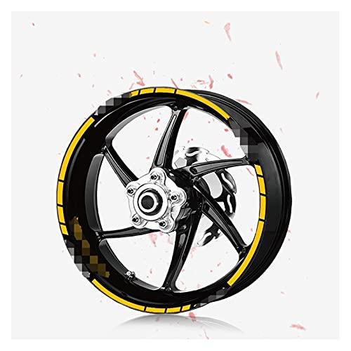 White skin Etiqueta engomada de la Motocicleta Tendencia Rueda para Hombre Rueda Decorativa reflexiva Decoración de neumáticos Fit Fit para Yamaha MT-07 MT07 MT 07 (Color : 190009-YLW)