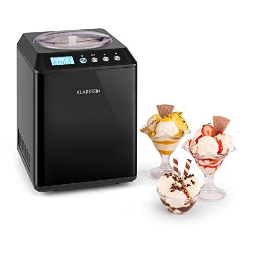 Klarstein Vanilla Sky - Eismaschine, Eisbereiter, Speiseeismaschine, Kühlhaltefunktion, LED-Display, Timer, Edelstahl, einfache Reinigung, 250 Watt, 2,5 Liter Fassungsvermögen, Schwarz