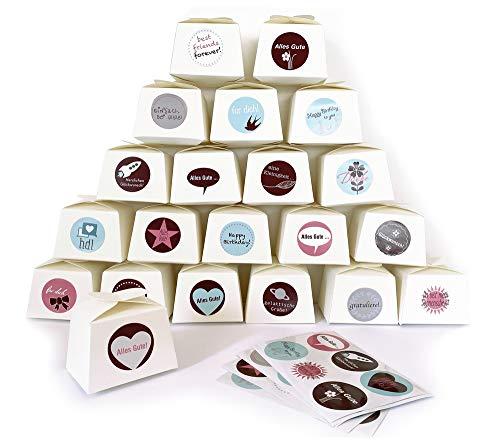 ewtshop 24 kleine weiße Geschenkboxen + 24 süße Aufkleber, zum Selbstgestalten oder Befüllen, für Pralinen, Bonbons, Seifen, Giveaways, Hochzeiten oder andere Feste