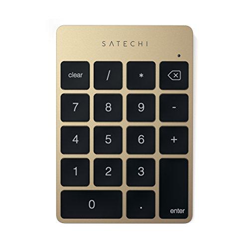 Satechi Keypad Delgado Portátil de Aluminio Bluetooth con 18-Teclas Extensión de Teclado para Entradas de Datos en Excel y Numbers (Oro)