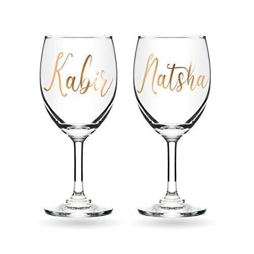 AICA Customized Name Wine Glass Gift for Husband/Wife/Boyfriend/Girlfriend- 230ML
