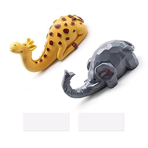 TIANLIN 2 Piezas Ganchos Adhesivos de Animales de Dibujos Animados, Gancho de Dibujos Animados para Niños, Lindo Gancho para Animales, Adecuados para Sala de Estar, Cocina, Baño