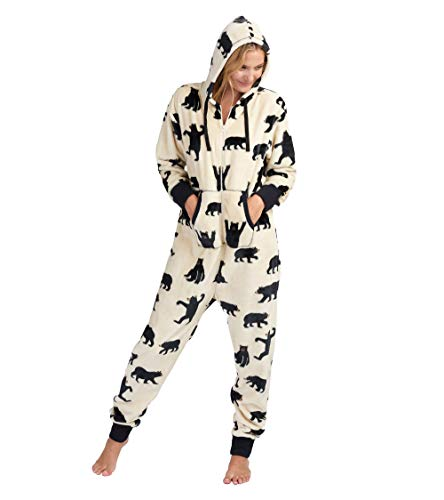 Hatley Little Blue House by Damen Hooded Fuzzy Fleece Bear Family Jumpuits Onesie, White (Adult Jumpsuit - Black Bears On Natural), X-Large
