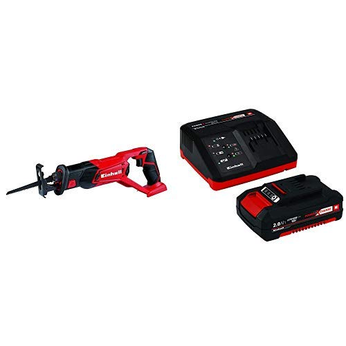 Einhell TE-AP 18 Li Solo Power X-Change 18 V Lithium Cordless Reciprocating Saw + Battery and Charger Starter Kit with 1 x 2 A Li-Ion, 18 V - Red