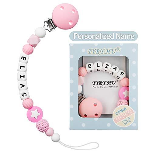 Clip Ciuccio con Nome Personalizzata Procione Catenella Portaciuccio Massaggiagengive BPA Gratuito Baby Shower Regali