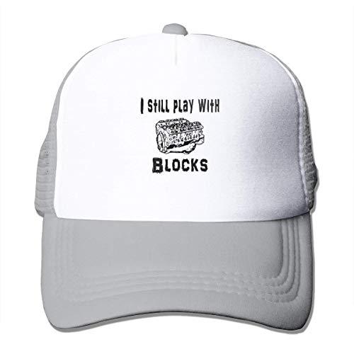 NA Ik nog steeds spelen met Blokken Zomer Mesh Baseball Cap Trucker Hoed voor Vrouwen Mannen Grijs