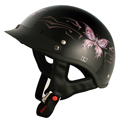 VCAN Cruiser Intricate Butterfly Motorcycle Half Helmet (Gloss Black, Large)