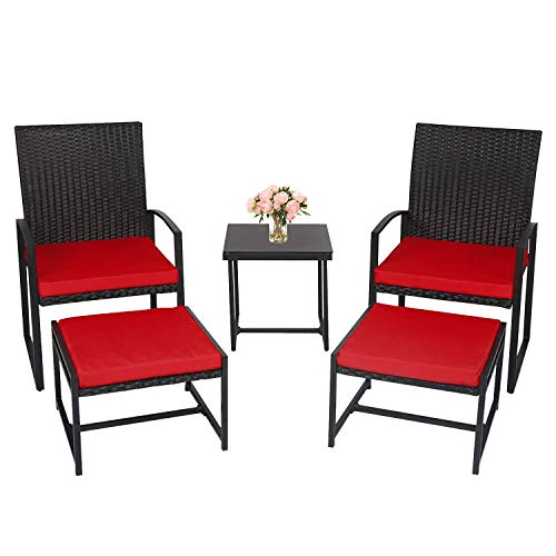 J-SUN-7 5 Piece Patio Conversation Set, Outdoor Wicker Furniture with 2 Chairs,Ottoman Set and Glass Coffee Table for Porch, Yard (Red Cushion)