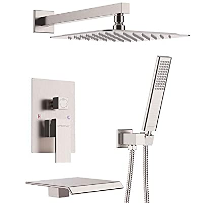 EMBATHER Shower System with Waterfall Tub Spout Shower Faucet Set with 12 Inch Rain Shower Head Wall Mounted Shower Set Brushed Nickle (Contain Rough-in Valve Body and Trim?