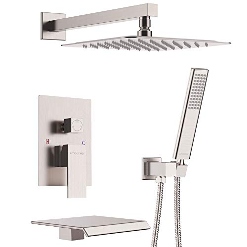 EMBATHER Shower System with Waterfall Tub Spout Shower Faucet Set with 12 Inch Rain Shower Head Wall Mounted Shower Set Brushed Nickle (Contain Rough-in Valve Body and Trim)