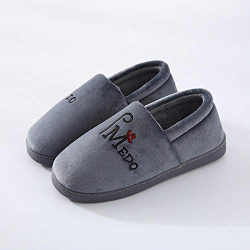 KIKIGO Comfort Memory Foam Slippers ,Men's and women's cotton slippers, couples winter indoor non-slip slippers, home confinement plush cotton shoes-Dark gray_36-37