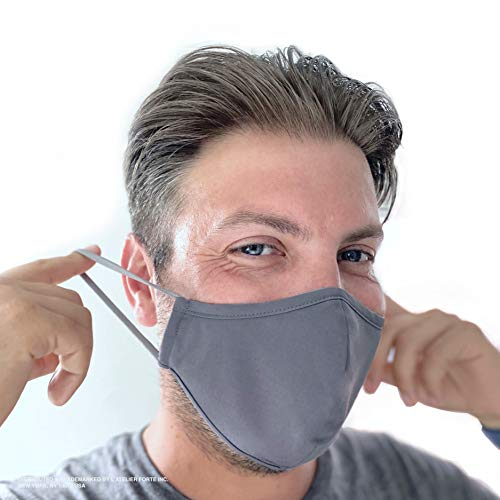 Forte Unisex 99.9% Antimicrobial Protective Reusable Mask (Pewter Grey, Large)