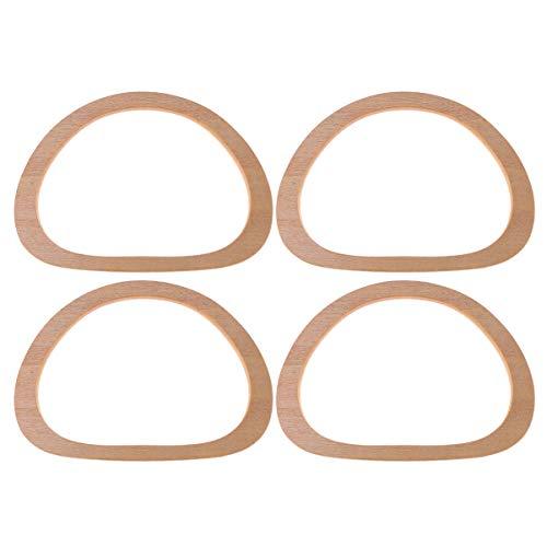 Heallily 4 pcs en bois sac à main poignées en forme ovale sac à main poignée remplacement sac poignée accessoires pour bricolage sac à main sacs à main sac à main