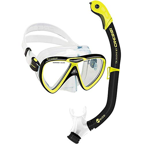 Cressi Ikarus & Orion Kits Máscara Tubo, Adultos Unisex, Transparent/Black/Yellow