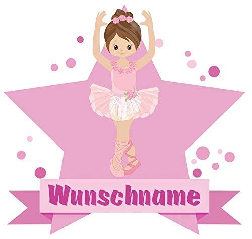 Samunshi® Süße Ballerina Wandtattoo Türschild mit Name personalisierbar Kinderzimmer Türaufkleber Baby Wandaufkleber in 9 Größen (25x22cm Mehrfarbig)