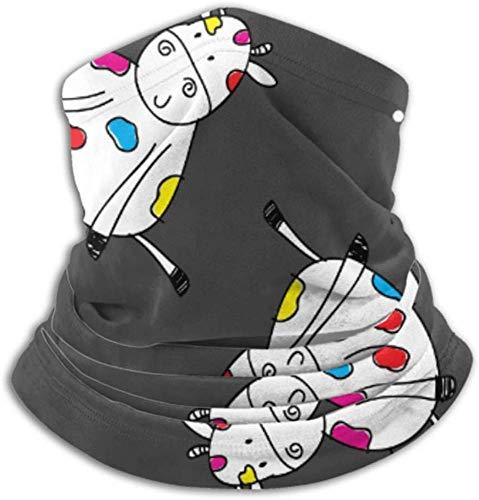 Teemoo Fleece-Halswärmer, multifunktionaler Kuhmuster-Zeichentrickfilm-Figur-Schal, Vollmaske oder Hut, Halsgamasche, Halskappe, Skimaske, Halbmaske, Gesichtsmaske